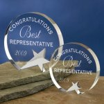 Freestanding Crystal Achievement Award Trophies