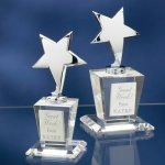 Chrome Stars with Crystal Bases Achievement Award Trophies