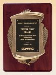 Rosewood Piano Finish Plaque with Antique Bronze Casting Achievement Award Trophies
