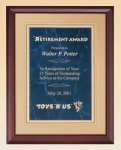 Cherry Finish Wood Plaque with Florentine Plate Achievement Award Trophies