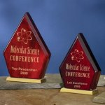 Diamond-Shaped Wood Achievement Award Trophies