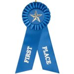1st Place Rosette Ribbon Baseball Trophy Awards