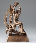 Ultra Action Series Sculpted Antique Gold Resin Trophy -Basketball Female Basketball Trophy Awards
