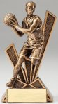 Checkmate Series Sculpted Antique Gold Resin Trophy -Basketball Male  Basketball Trophy Awards