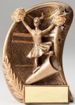 Curve Action Series Sculpted Antique Gold Resin Trophy -Cheer Cheerleading Trophy Awards