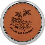 Leatherette Round Coaster with Silver Edge -Rawhide  Circle Awards