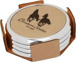 Leatherette Round Coaster Set with Silver Edge -Light Brown Circle Awards