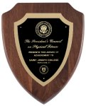 Genuine Walnut Shield  Plaque with Satin Finish Employee Awards