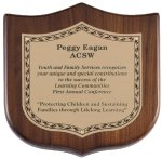 Genuine Walnut Shield Plaque Employee Awards