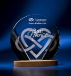Black and Clear Circular Award on Wooden Base Employee Awards
