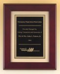Rosewood Piano Finish Plaque with Florentine Plate Employee Awards