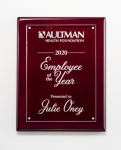 Clear Acrylic Plate on Rosewood High Gloss Plaque Employee Awards
