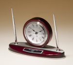 Rosewood Piano Finish Desk Clock and Pen Set with Silver Aluminum Accents Employee Awards