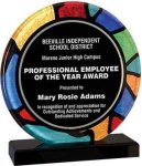Round Stained Glass Acrylic with Black Base Employee Awards