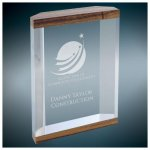 Wood Grain Top and Bottom Banded Capri Acrylic Employee Awards