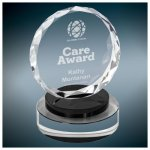 Round Crystal with Black/Clear Base Employee Awards