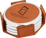 Leatherette Round Coaster Set with Silver Edge -Rawhide Employee Awards