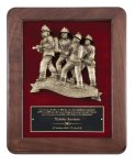 Genuine Walnut Plaque with Fireman Rescue Fire and Safety Awards