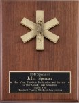 Genuine Walnut Plaque with EMT Casting Fire and Safety Awards