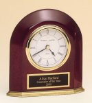 Rosewood Piano Finish Arched Desk Clock Gift Awards