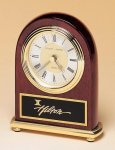 Rosewood Piano Finish Desk Clock on a Brass Base Gift Awards