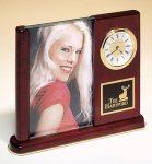Rosewood Piano Finish Photo Desk Clock Gift Awards