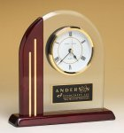 Arched Clock with Rosewood Piano Finish Post and Base Gift Awards