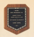 American Walnut Shield Plaque with a Black Brass Plate. Golf Awards