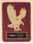 Rosewood Piano Finish Plaque with Gold Eagle Casting Golf Awards