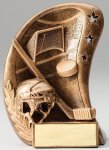 Curve Action Series Sculpted Antique Gold Resin Trophy -Hockey Hockey Trophy Awards