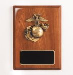 Walnut Piano Finish Marine Plaque Patriotic Awards