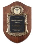 Genuine Walnut Plaque with Metal Casting with Black Engraving Plate Sales Awards