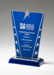 Constellation Series Glass Award - Blue Background and Chrome Plated Star Sales Awards
