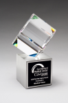 Clipped Crystal Cube on Brushed Silver Metal Base Sales Awards