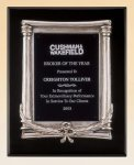 Black Piano Finish Plaque with Antique Silver Frame Casting Sales Awards