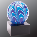2 Tone Blue/White Sphere Art Glass Sales Awards