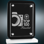 Floating Glass Standup Plaque Sales Awards