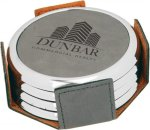 Leatherette Round Coaster Set with Silver Edge -Gray Sales Awards