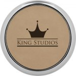 Leatherette Round Coaster with Silver Edge -Light Brown Sales Awards