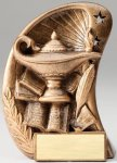 Curve Action Series Sculpted Antique Gold Resin Trophy -Lamp of Knowledge Scholastic Trophy Awards