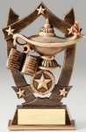 Premium Scultped Antique Gold Resin Trophy -Lamp of Knowledge Scholastic Trophy Awards