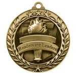 Wreath Award Medallion -Readers Are Leaders Scholastic Trophy Awards