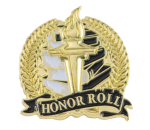 Bright Gold Academic Honor Roll Lapel Pin Scholastic Trophy Awards