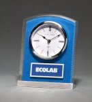 Glass Clock with Blue Carbon Fiber Design Secretary Gift Awards