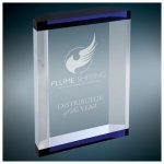 Blue Top and Bottom Banded Capri Acrylic Square Rectangle Awards