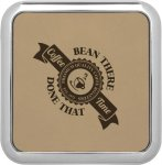 Leatherette Square Coaster with Silver Edge -Light Brown  Square Rectangle Awards