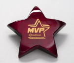 Rosewood Piano-Finish Star Paperweight with Felt Bottom Star Awards