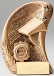 Curve Action Series Sculpted Antique Gold Resin Trophy -Swim Swimming Trophy Awards